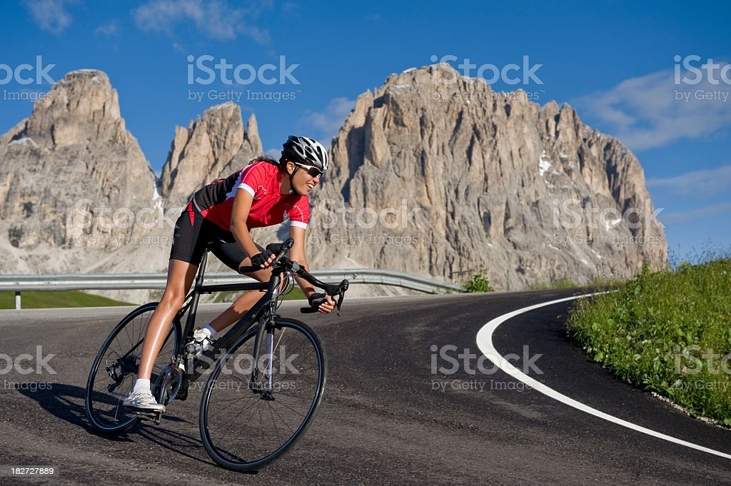 sporting woman on a race wheel stock photo
