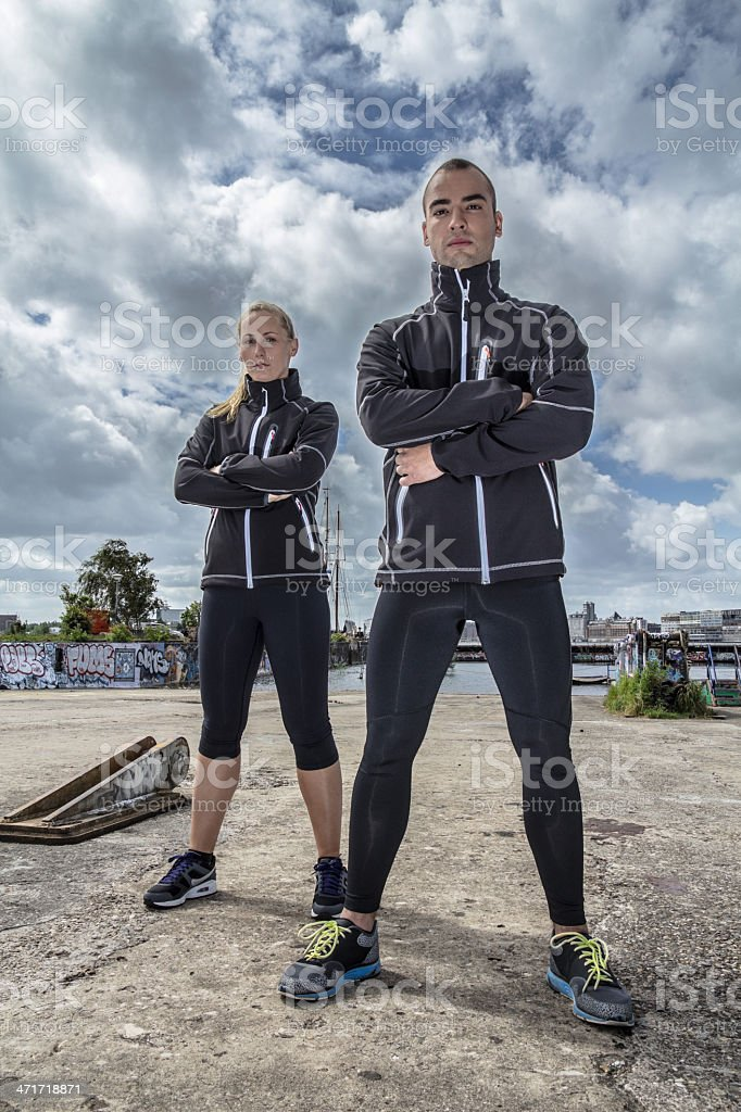 Sportive couple ready for action royalty-free stock photo