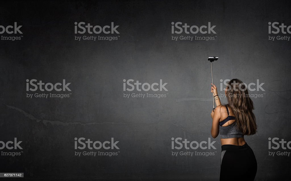 sportive made selfie with camera stock photo