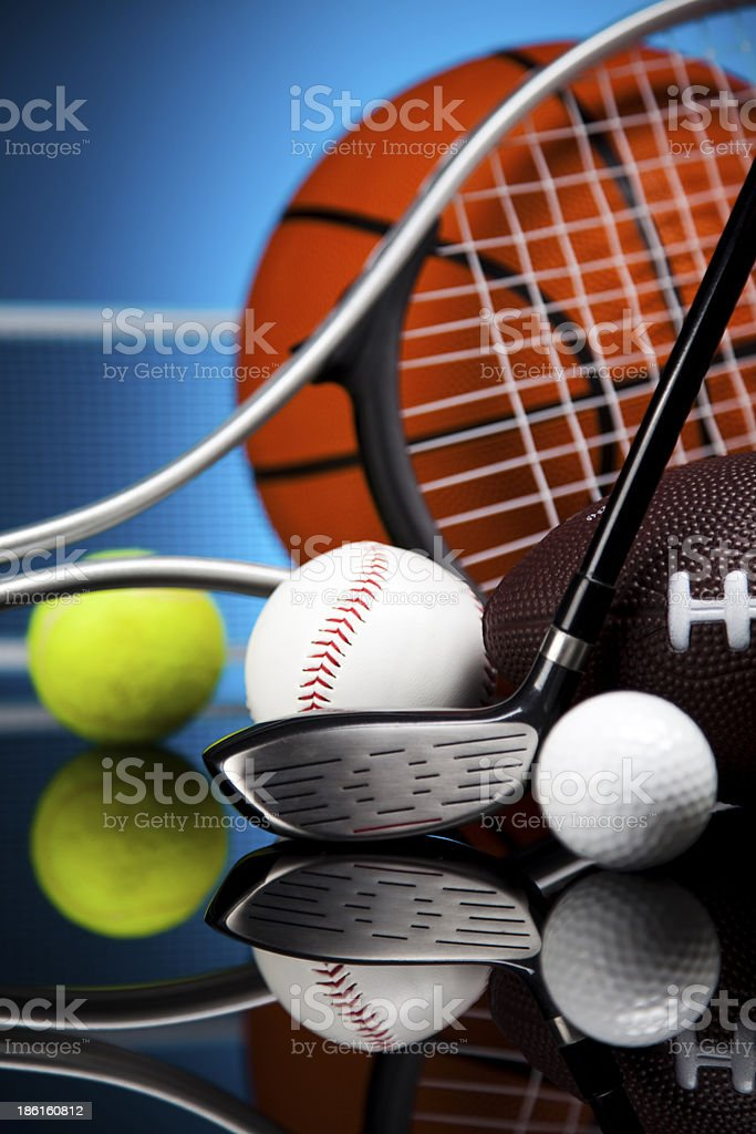 Sports, a lot of balls and stuff royalty-free stock photo