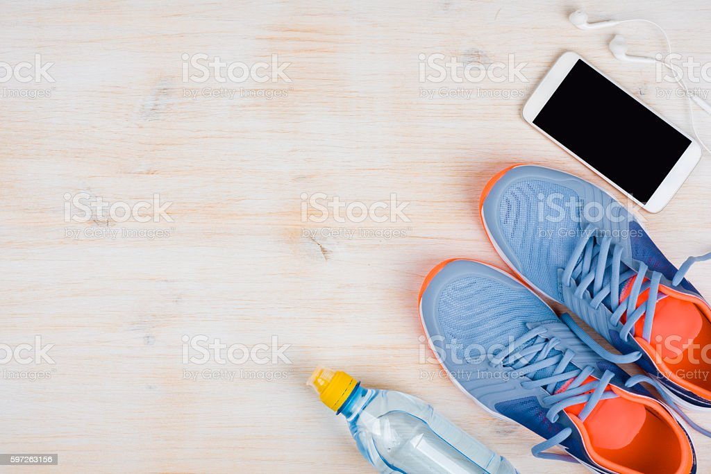 Sports activities objects on wooden background with copy space stock photo
