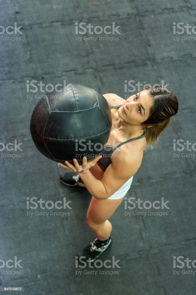 Sports activity with medicine ball stock photo
