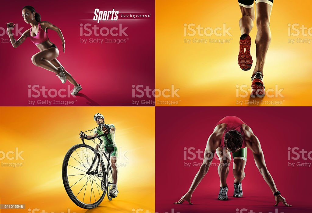 Sports background. Cyclist and runner stock photo