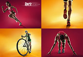 Sports background. Cyclist and runner