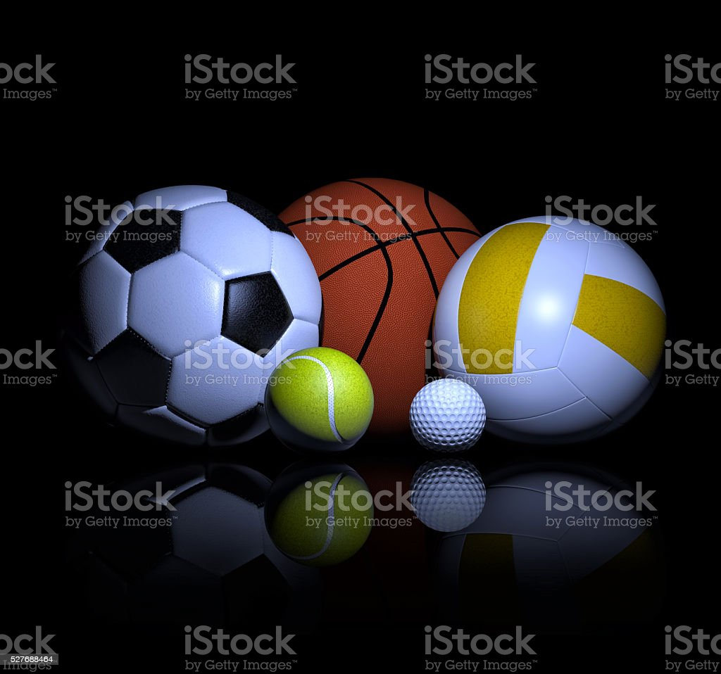 Sports balls 3d rendering stock photo