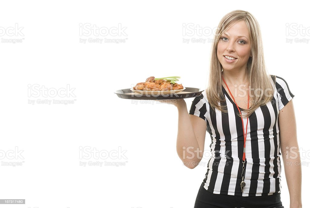 Sports Bar Waitress with Buffalo Wings royalty-free stock photo
