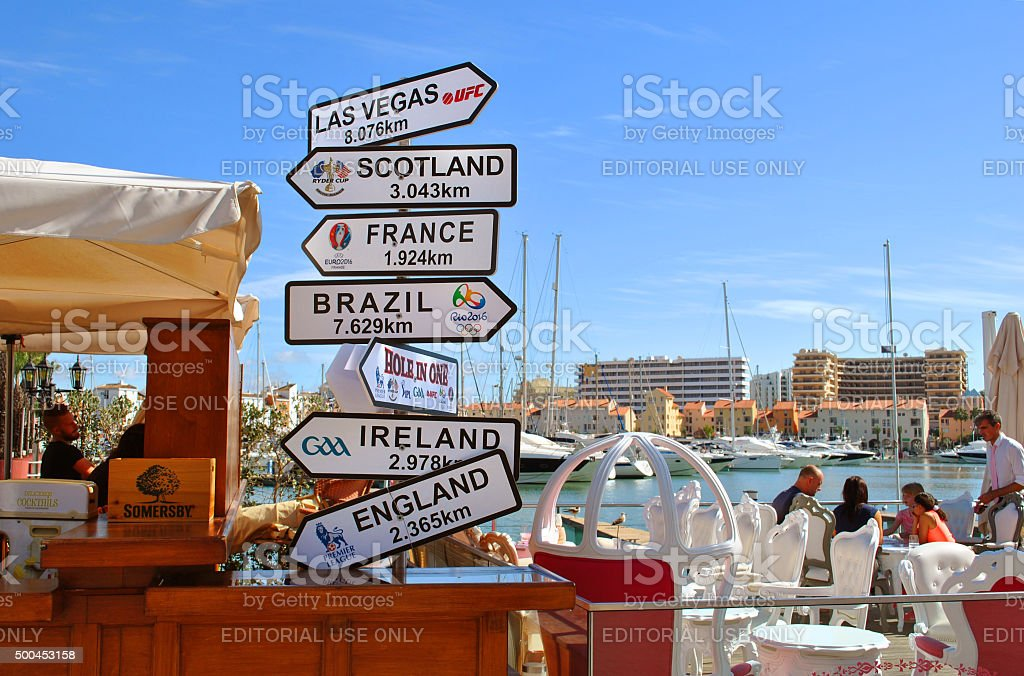Sports bar with direction, distance, position and indication sign stock photo