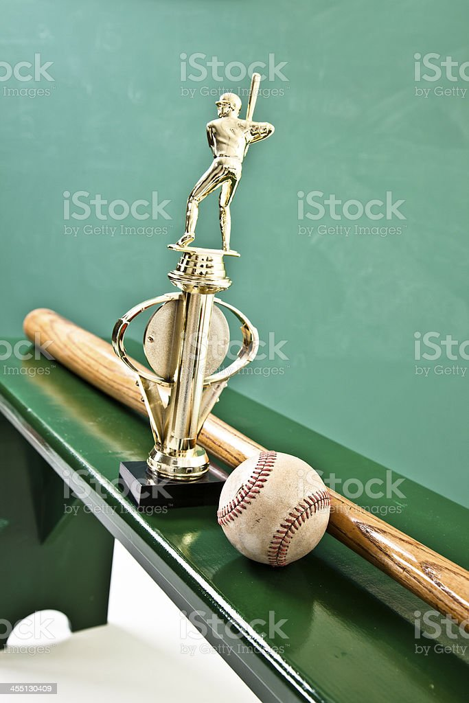 Sports: Baseball, bat, trophy in locker room. stock photo