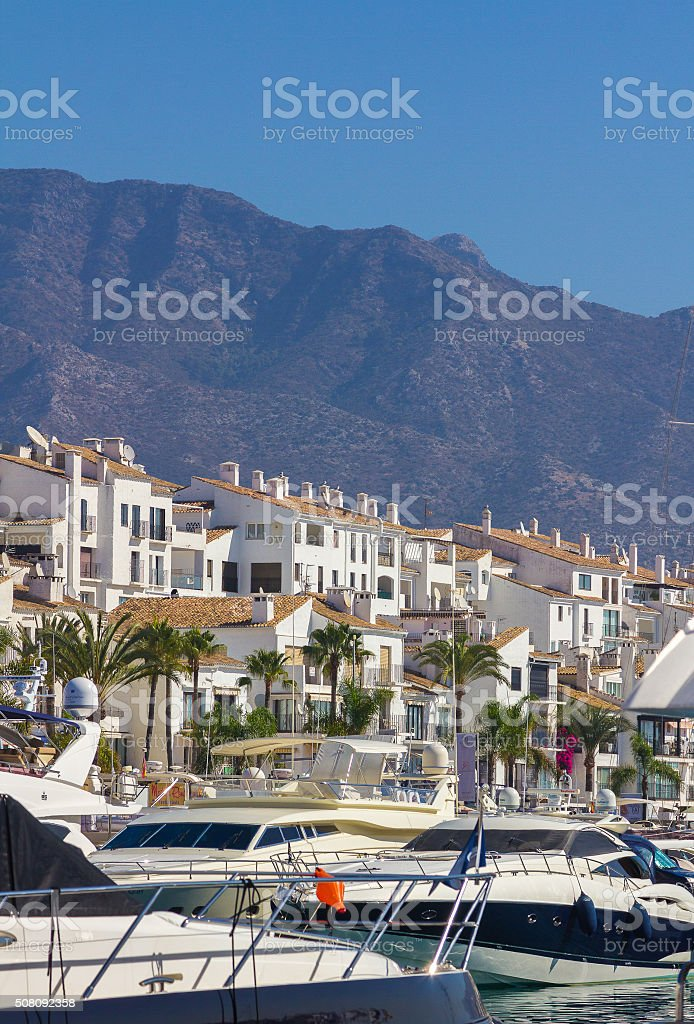sports boats and yachts with the city of Puerto Banus stock photo