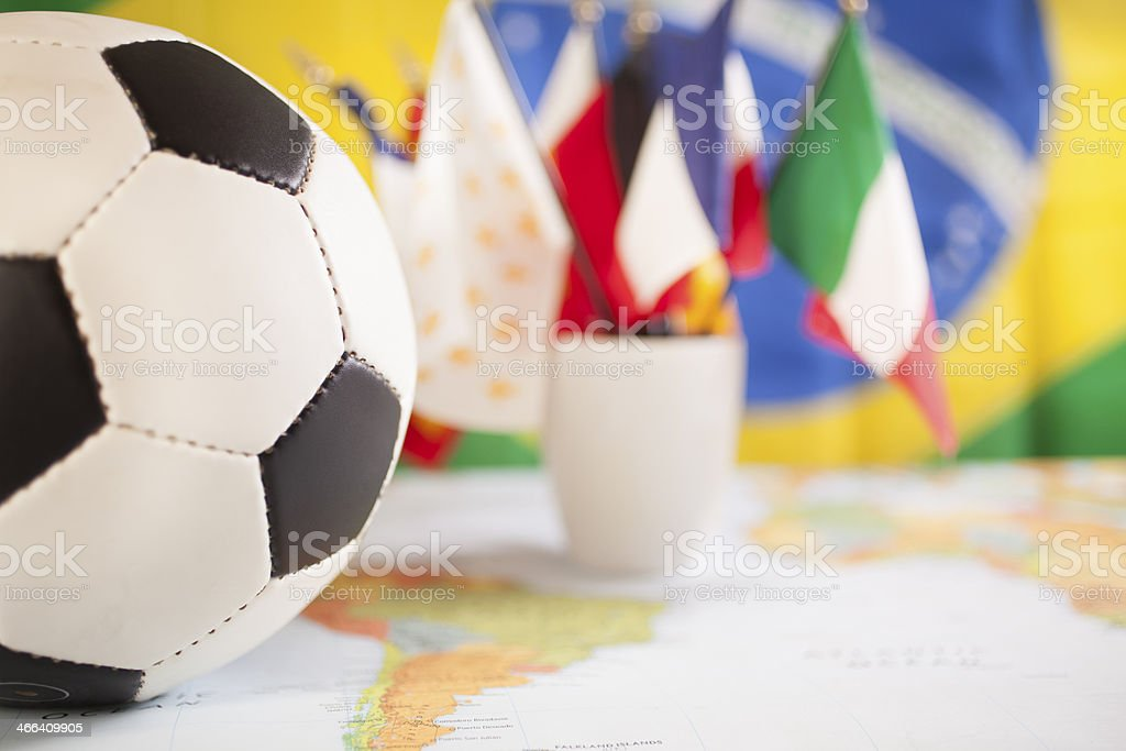 Sports: Brazil. Map, soccer ball, flags. royalty-free stock photo