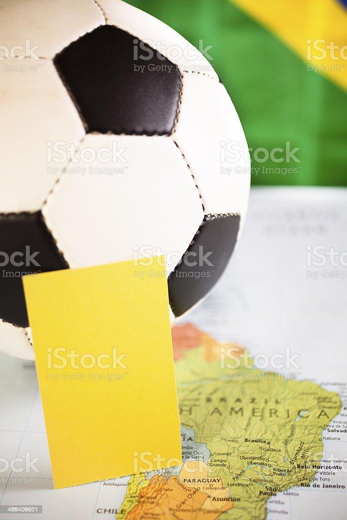 Sports:   Brazil.  Map, soccer ball. royalty-free stock photo