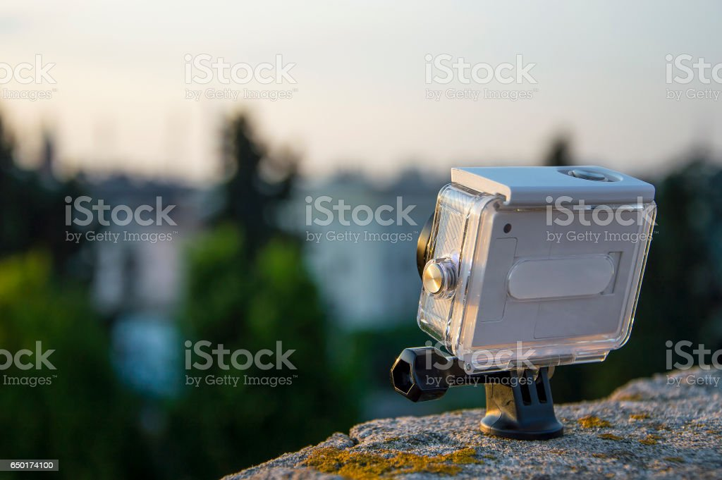 Sports camera in waterproof cover, Kielce, Poland