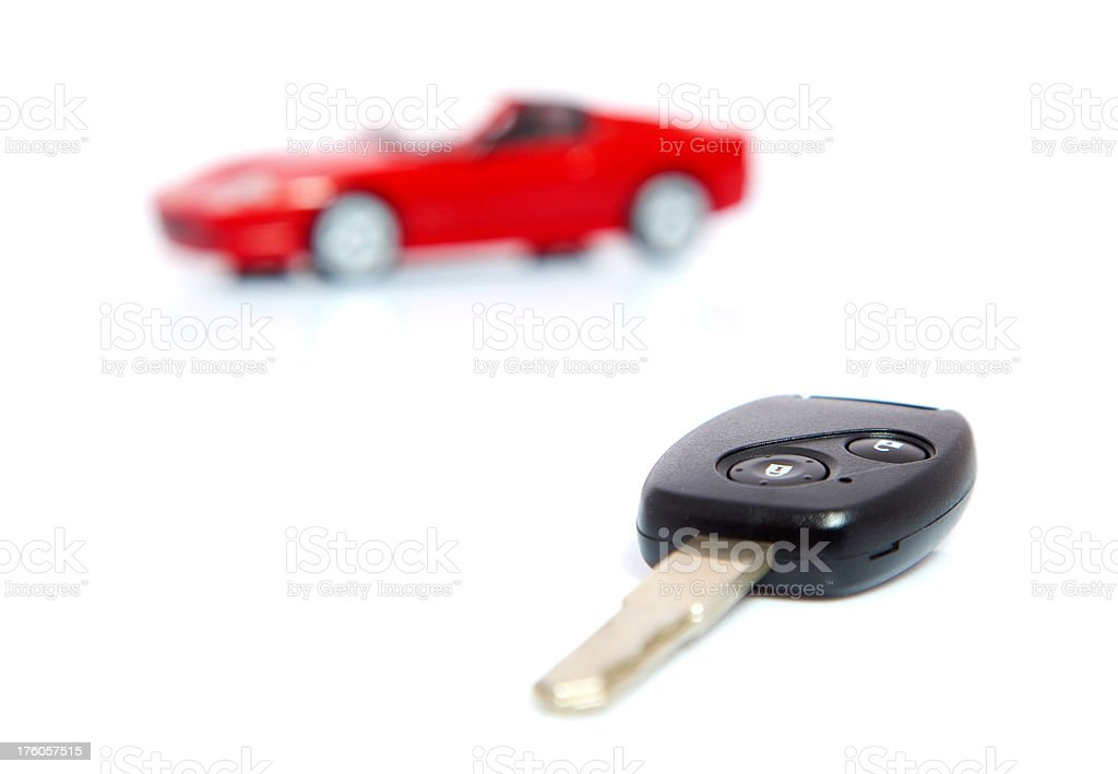 Sports car and key stock photo