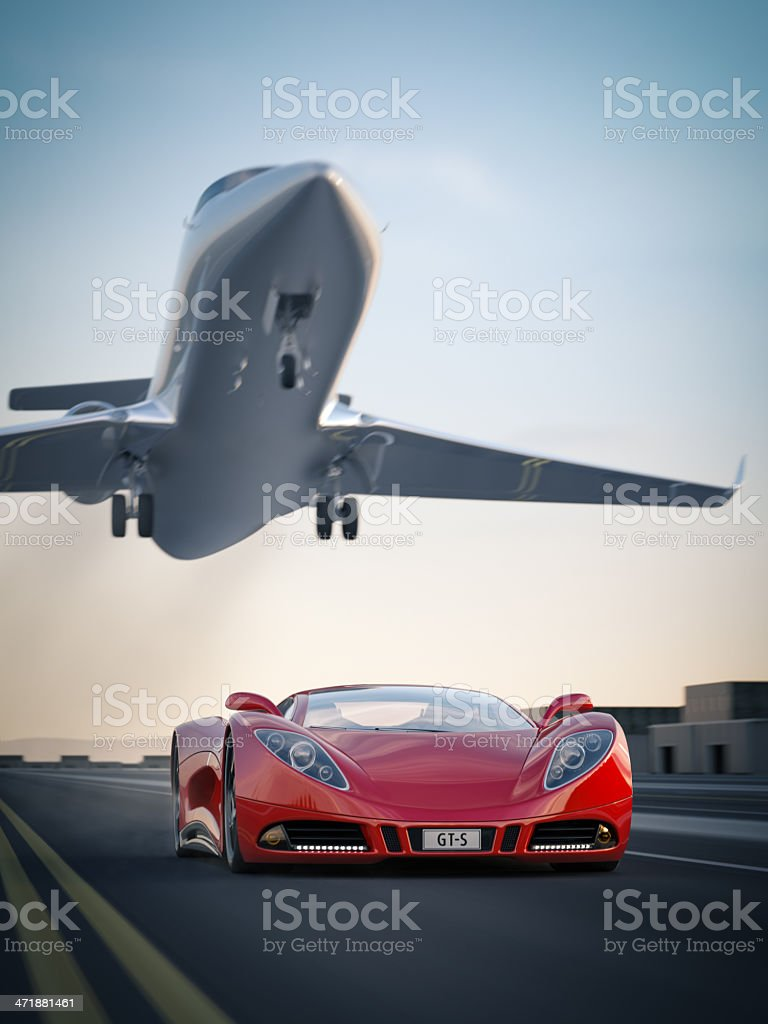 Sports Car and Private Jet stock photo