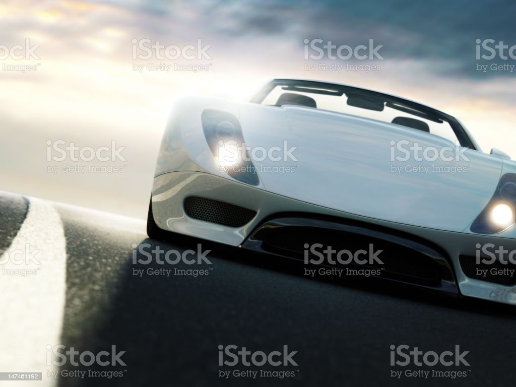 Sports Car at Sunset royalty-free stock photo