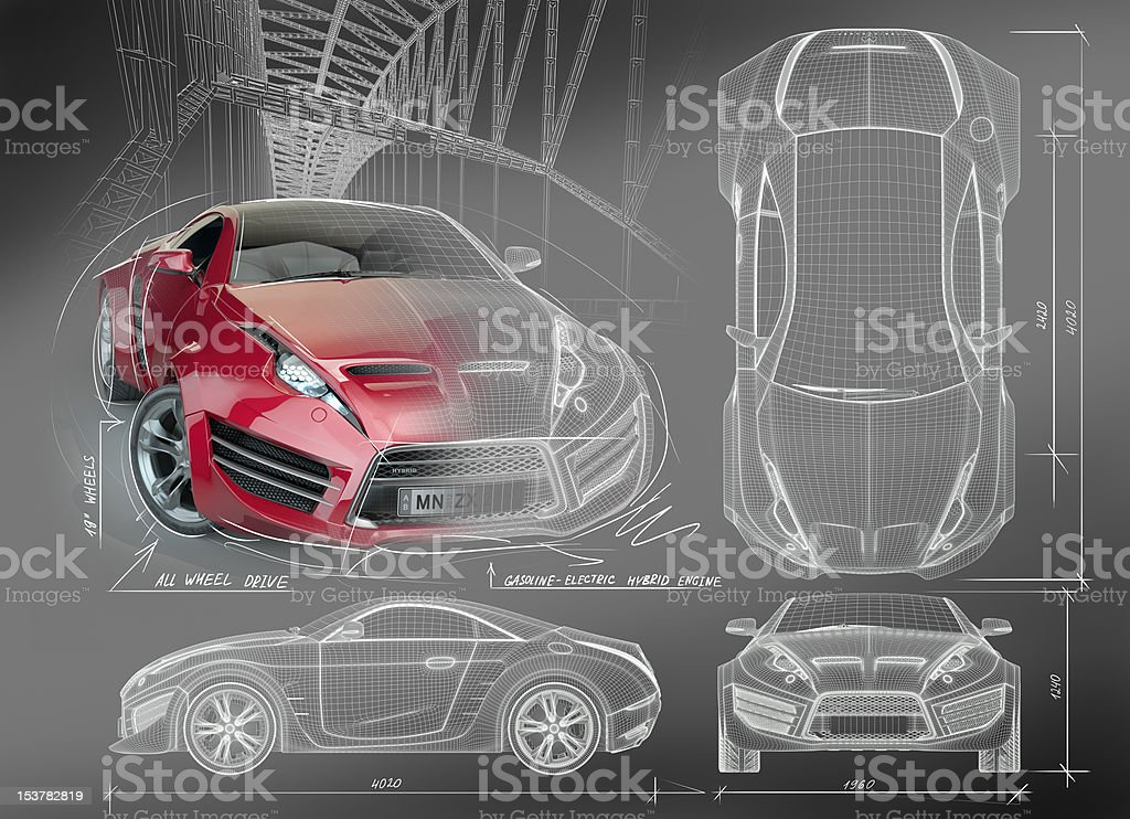 Sports car blueprints stock photo
