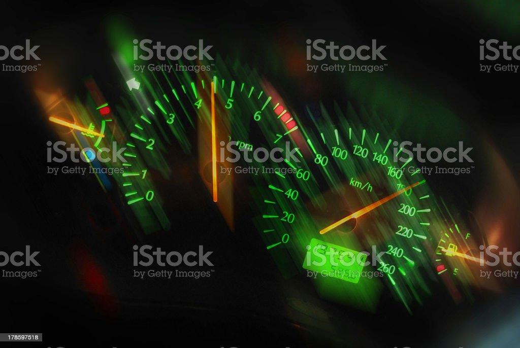Sports car dashboard at night stock photo