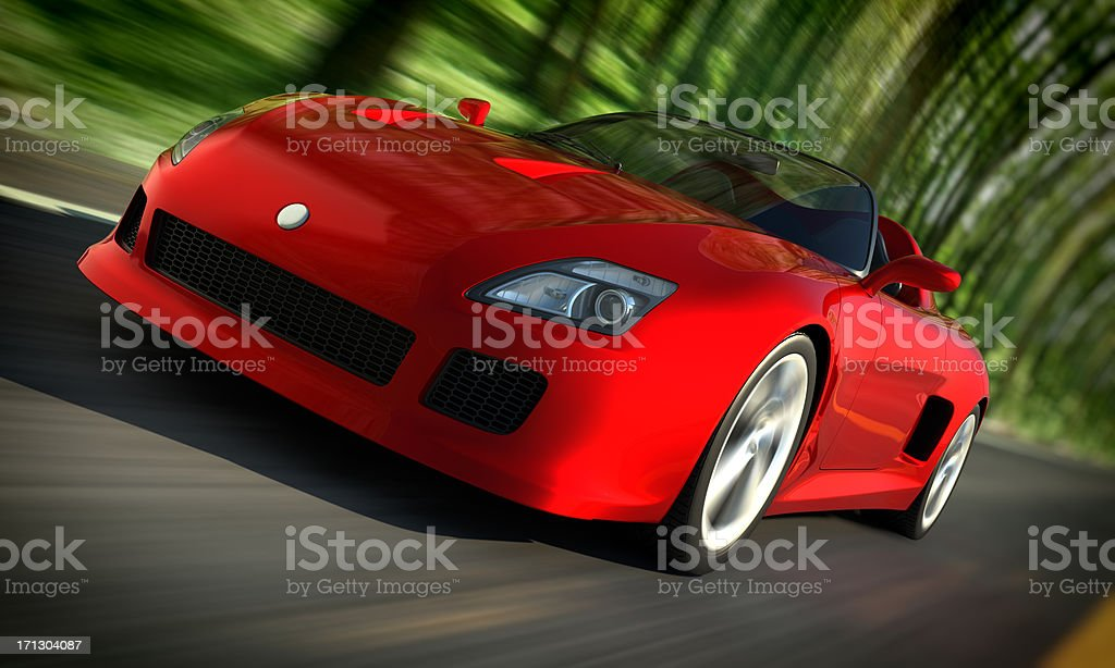 Sports car driving fast in forest stock photo