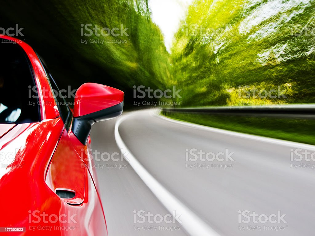 Sports car driving front royalty-free stock photo