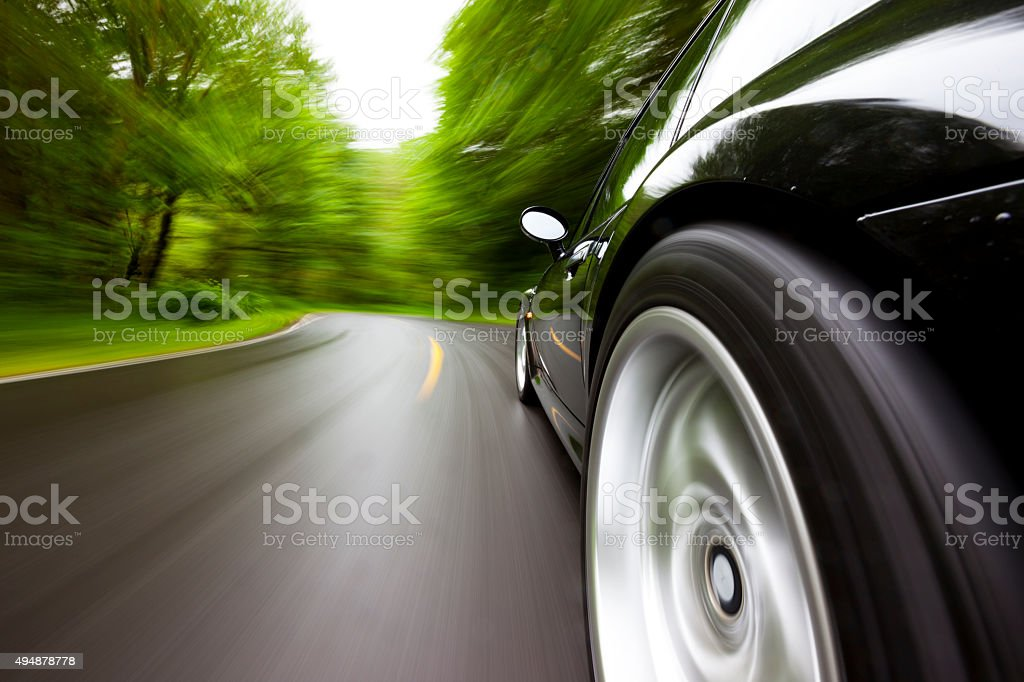 Sports Car Forest Curve. stock photo
