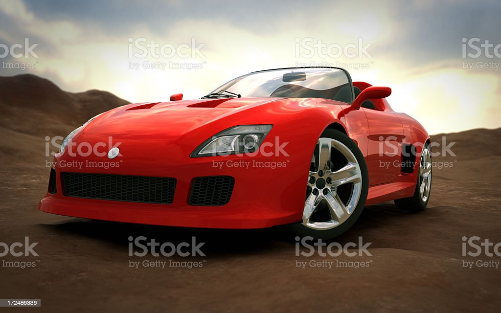 Sports car in nature stock photo