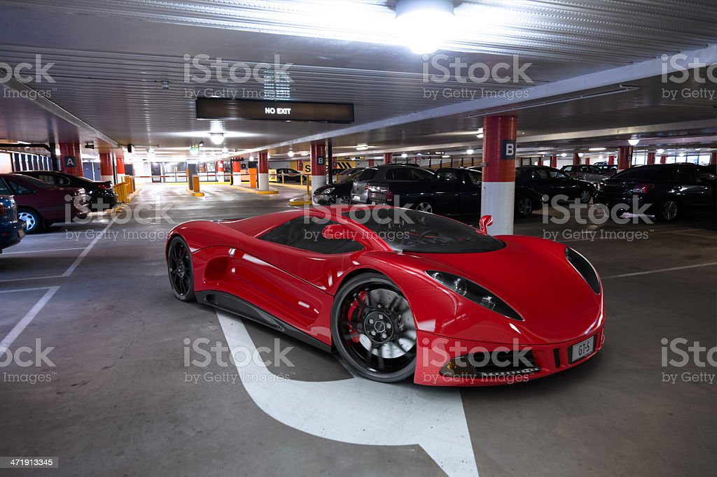 Sports Car in Parking Garage royalty-free stock photo