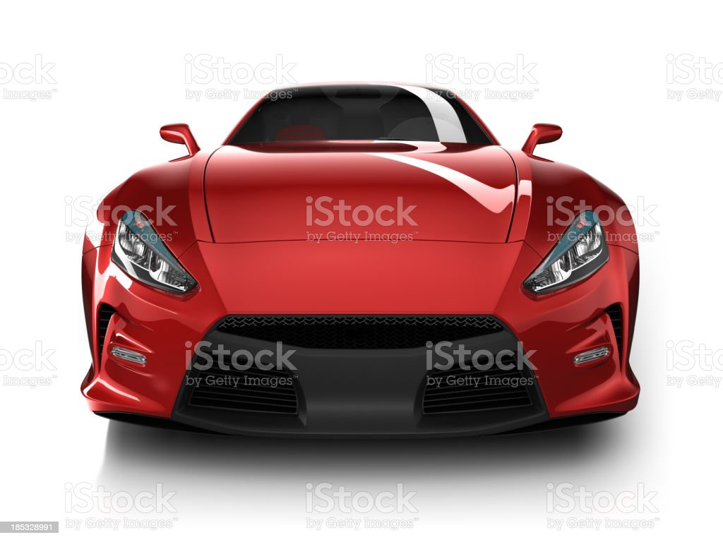 Sports car in studio - isolated on white/clipping path stock photo