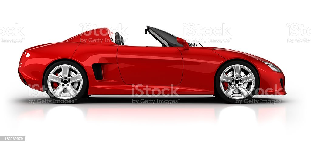 Sports car in studio, side view - isolated/clipping path stock photo