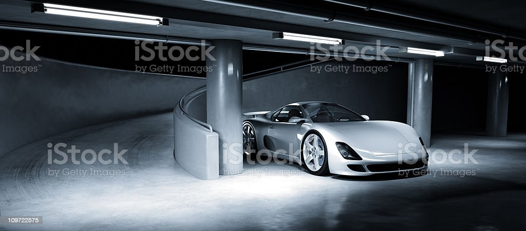 Sports Car in Underground Carpark stock photo