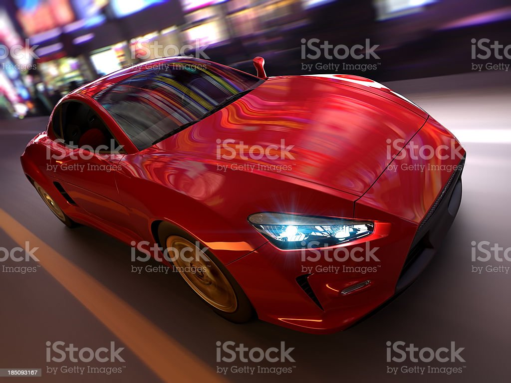Sports car in urban environment royalty-free stock photo