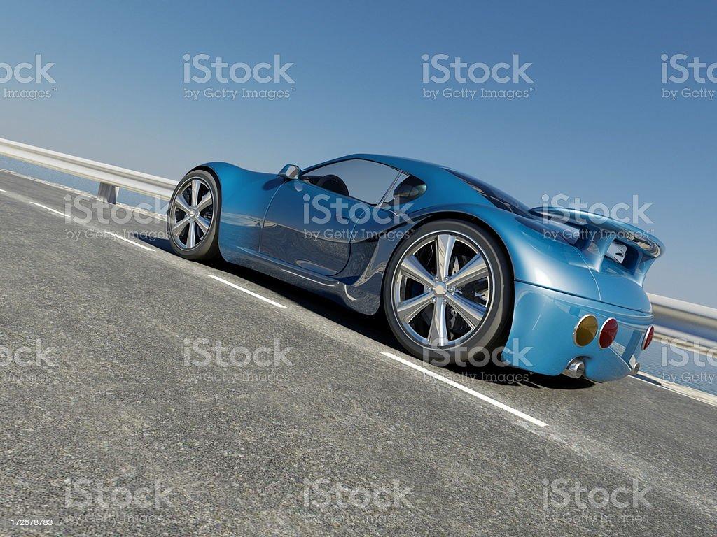 Sports Car on Coastal Road royalty-free stock photo