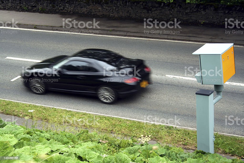 Sports Car Passing a Static Speed Camera stock photo