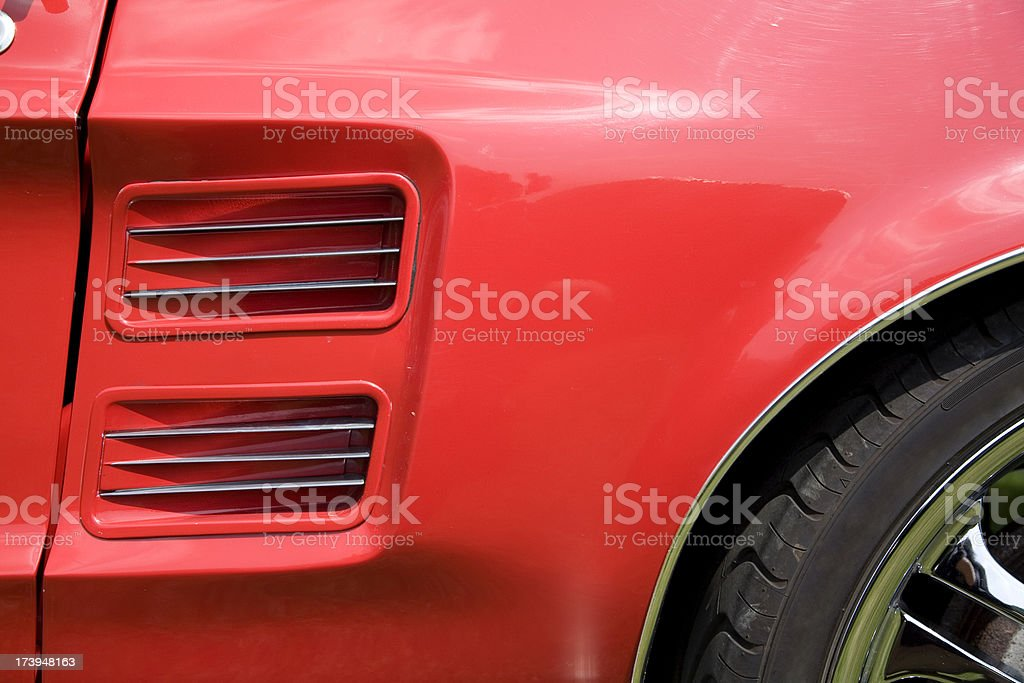 Sports car side air scoop stock photo