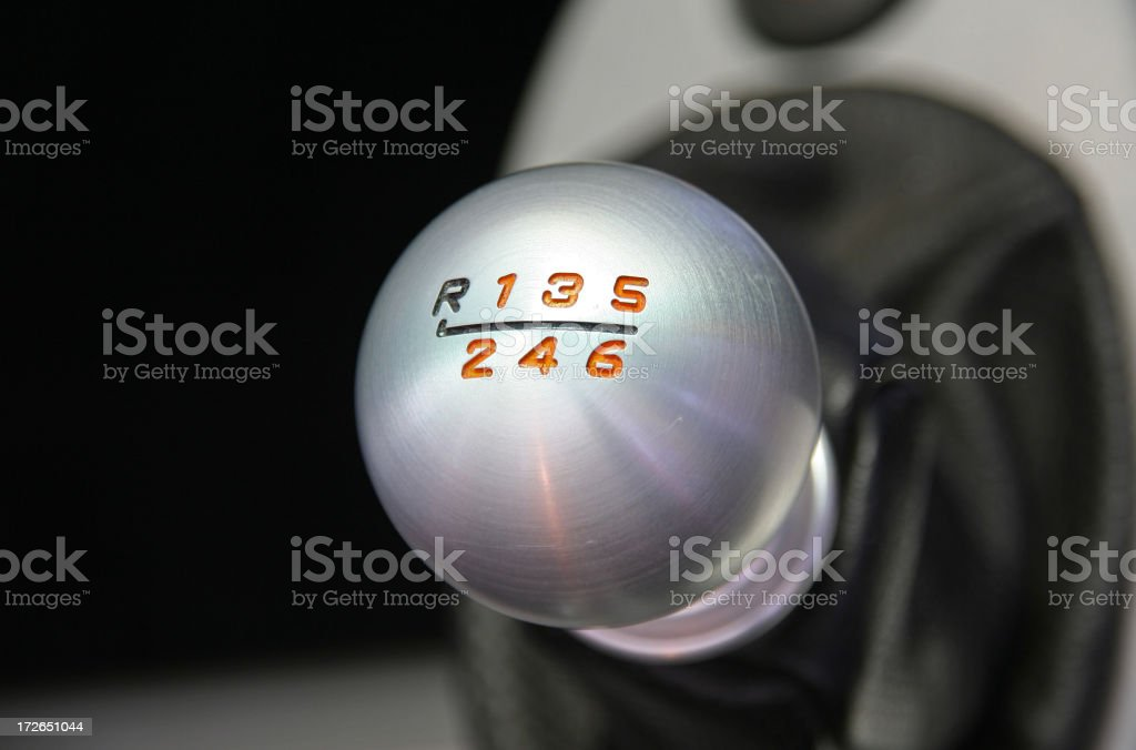 Sports Car Six Speed Shifter stock photo