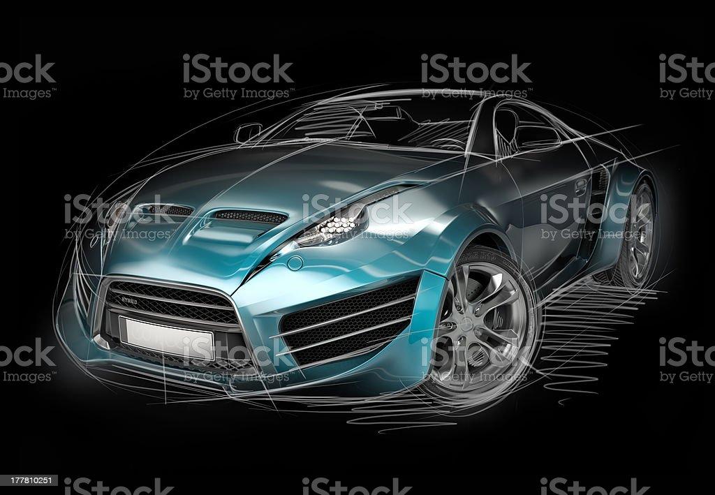 Sports car sketch royalty-free stock photo