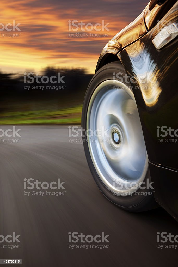 Sports Car Speed Sunset. stock photo