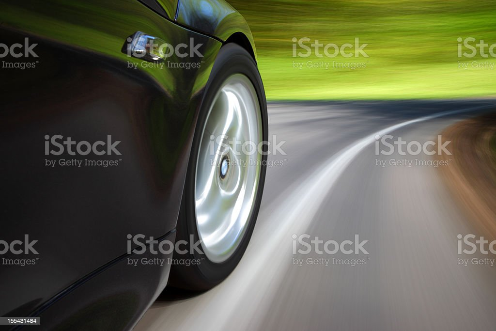 Sports Car Speeding Corner. stock photo