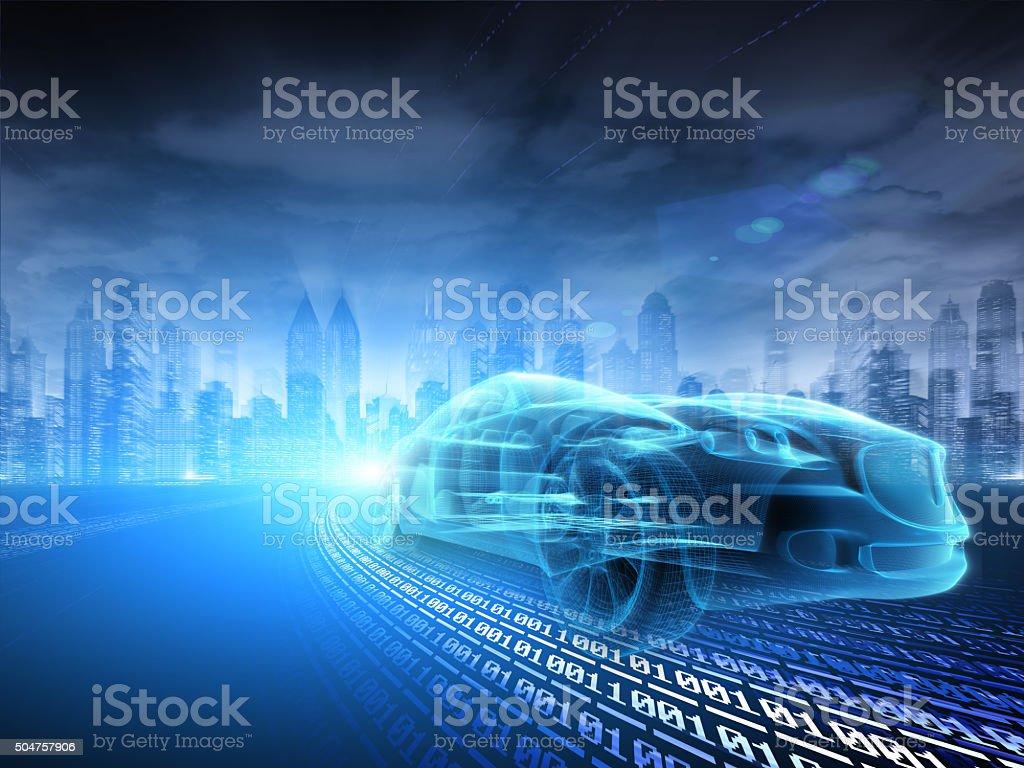 Sports Car speeding in Urban highway stock photo