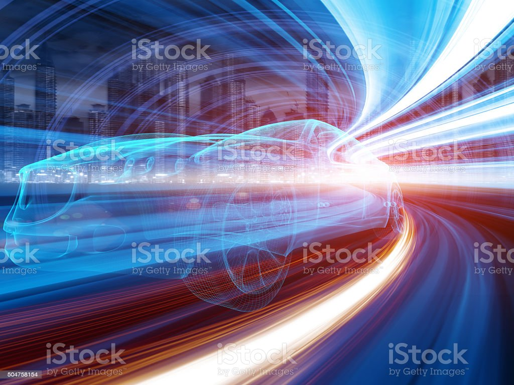 Sports Car speeding in Urban highway stock photo