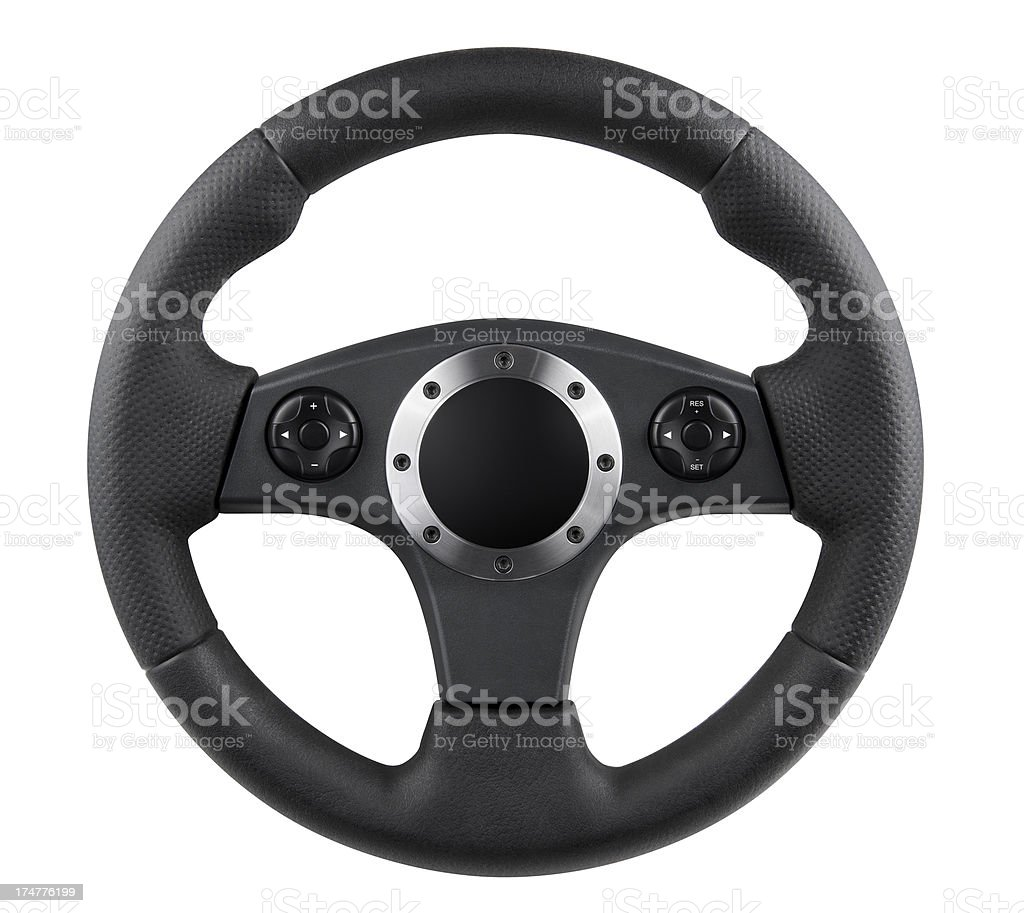 Sports Car Steering Wheel - Isolated w/ Path stock photo