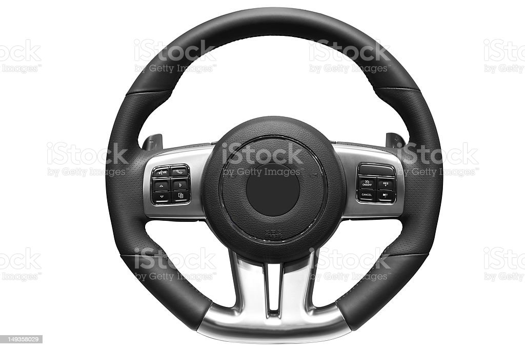 Sports car steering wheel. stock photo