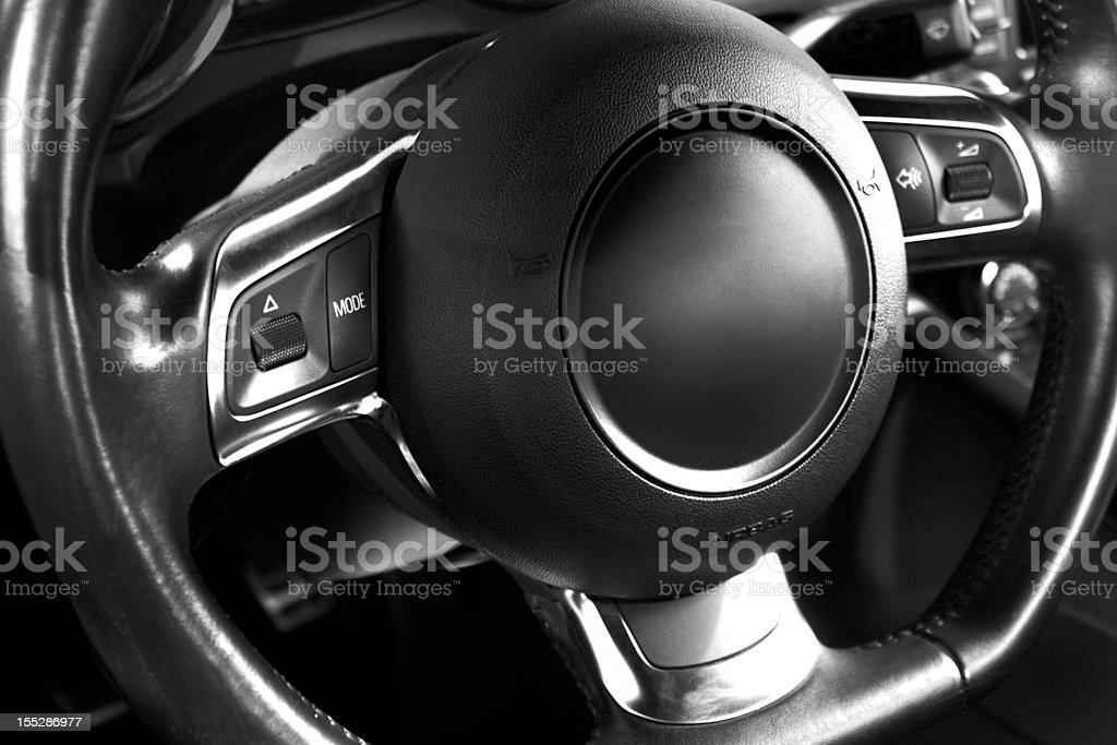 Sports car steering wheel royalty-free stock photo