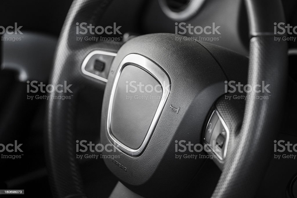 Sports car steering wheel stock photo
