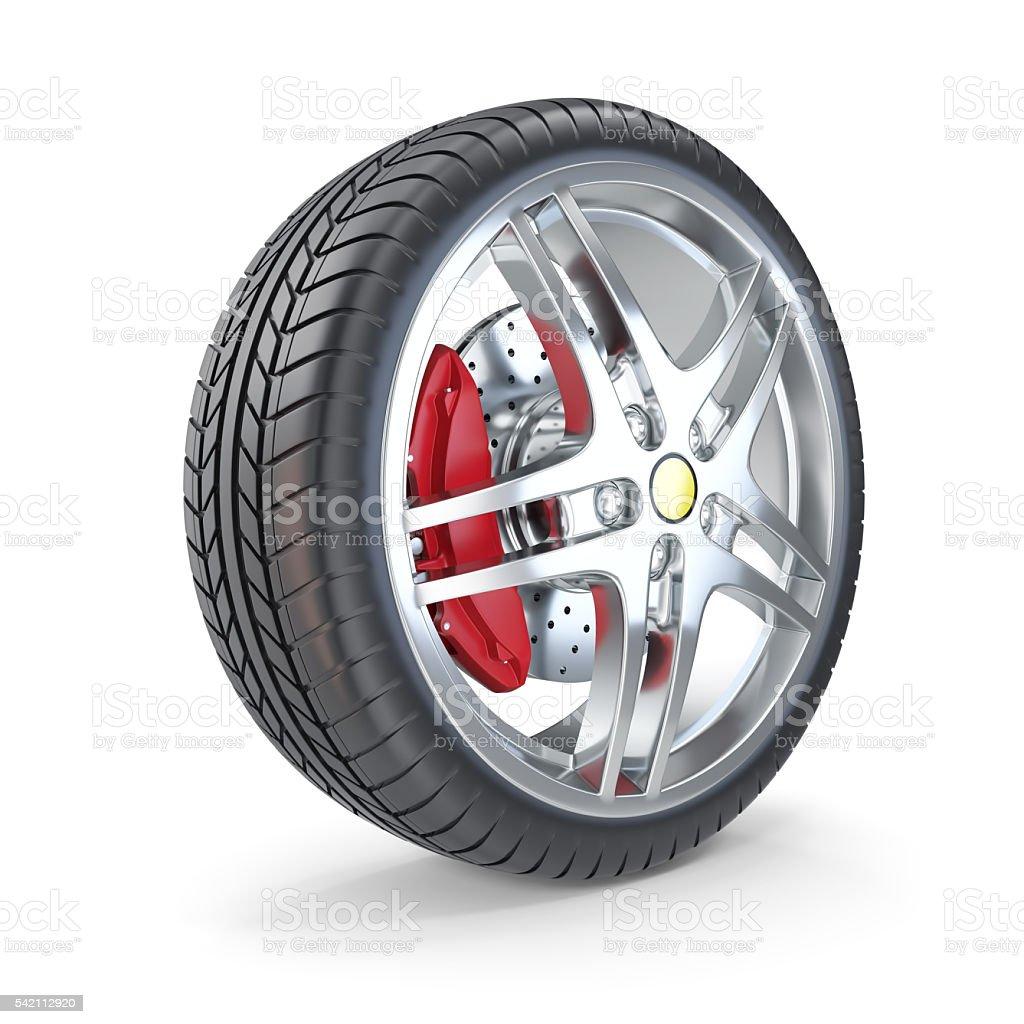 Sports car wheel isolated on white background. 3d illustration stock photo