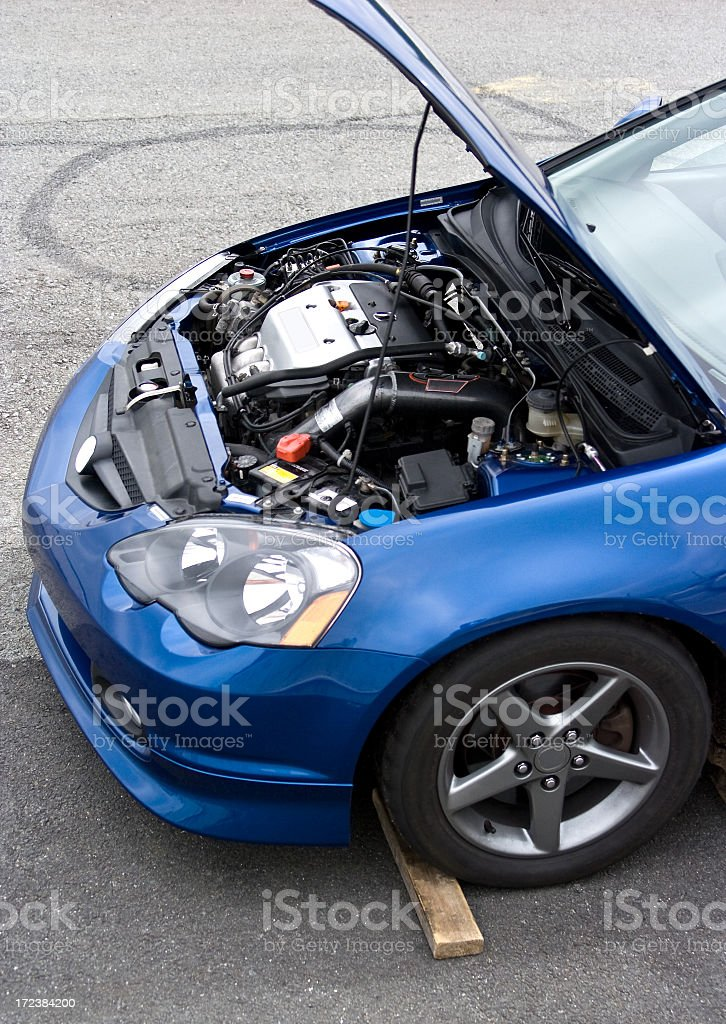 Sports Car with Engine Revealed Hood Up stock photo