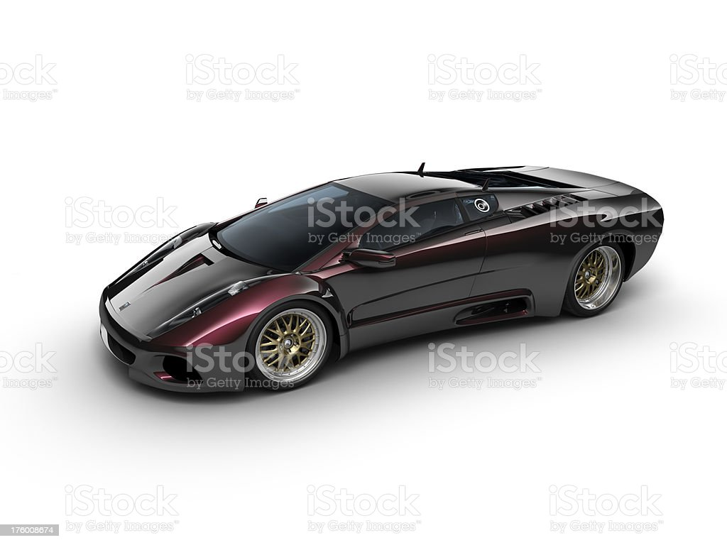 Sports car with pearl effect on white background stock photo