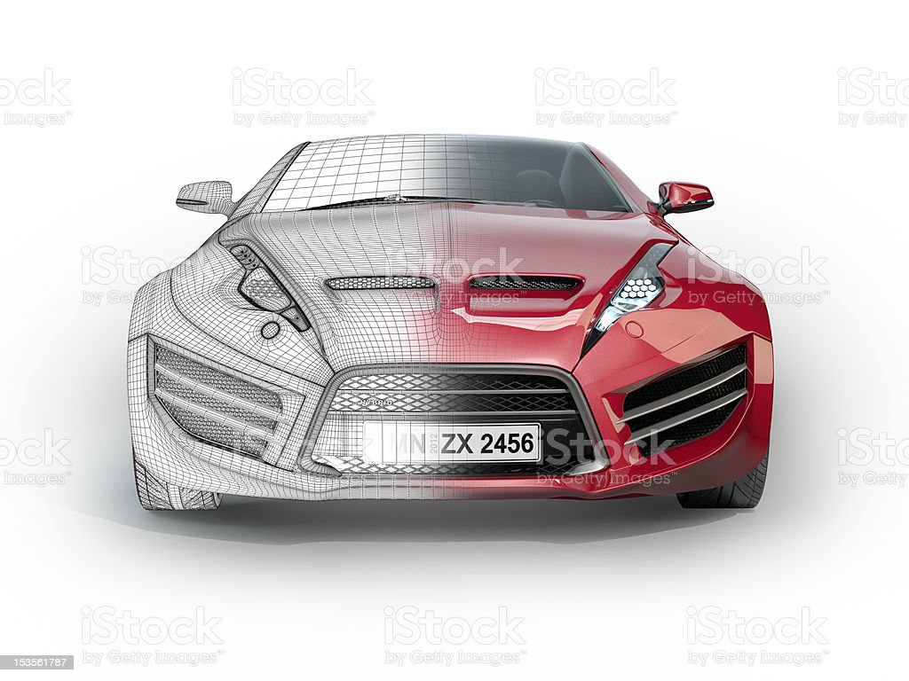 Sports car with wireframe stock photo