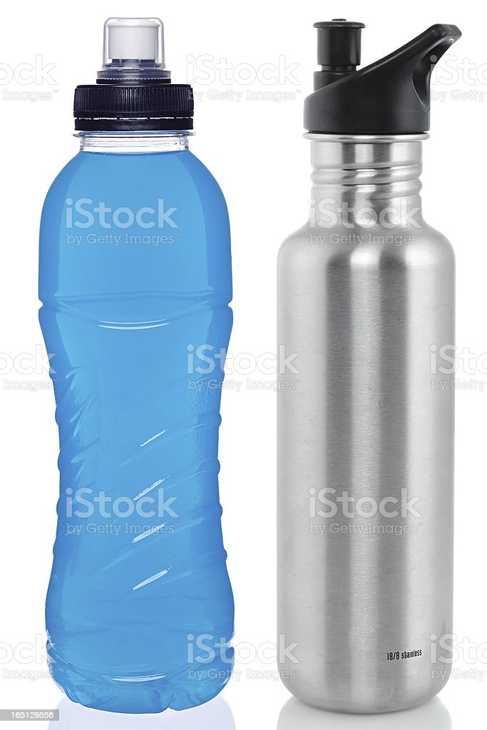 Sports drink and steel bottle stock photo