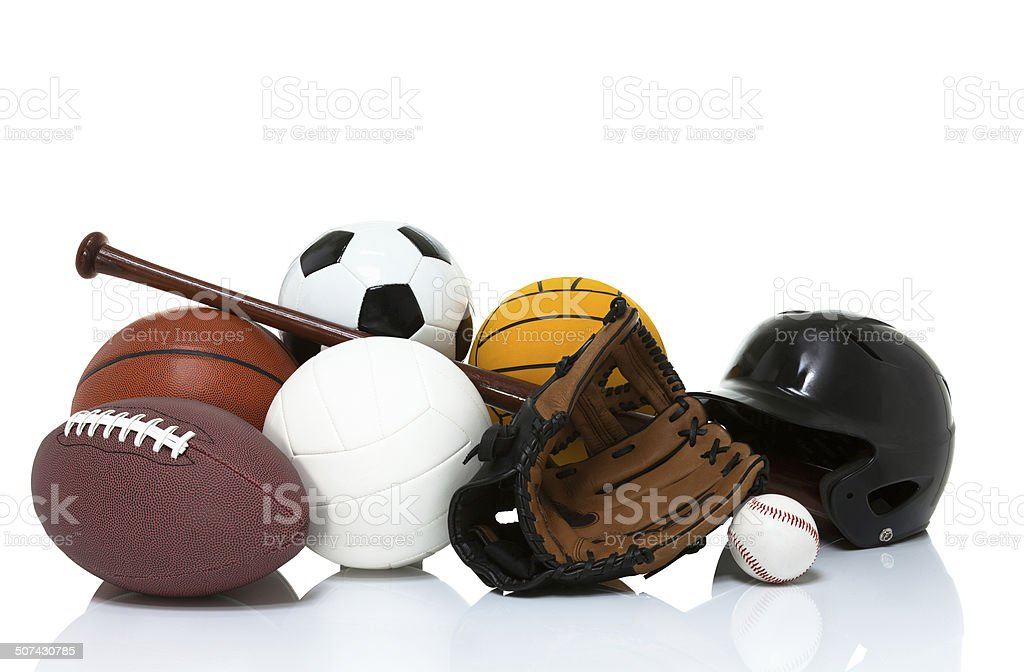 Sports equipment isolated on white stock photo