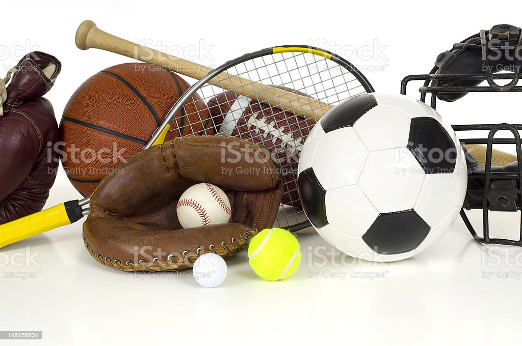 Sports Equipment on White stock photo